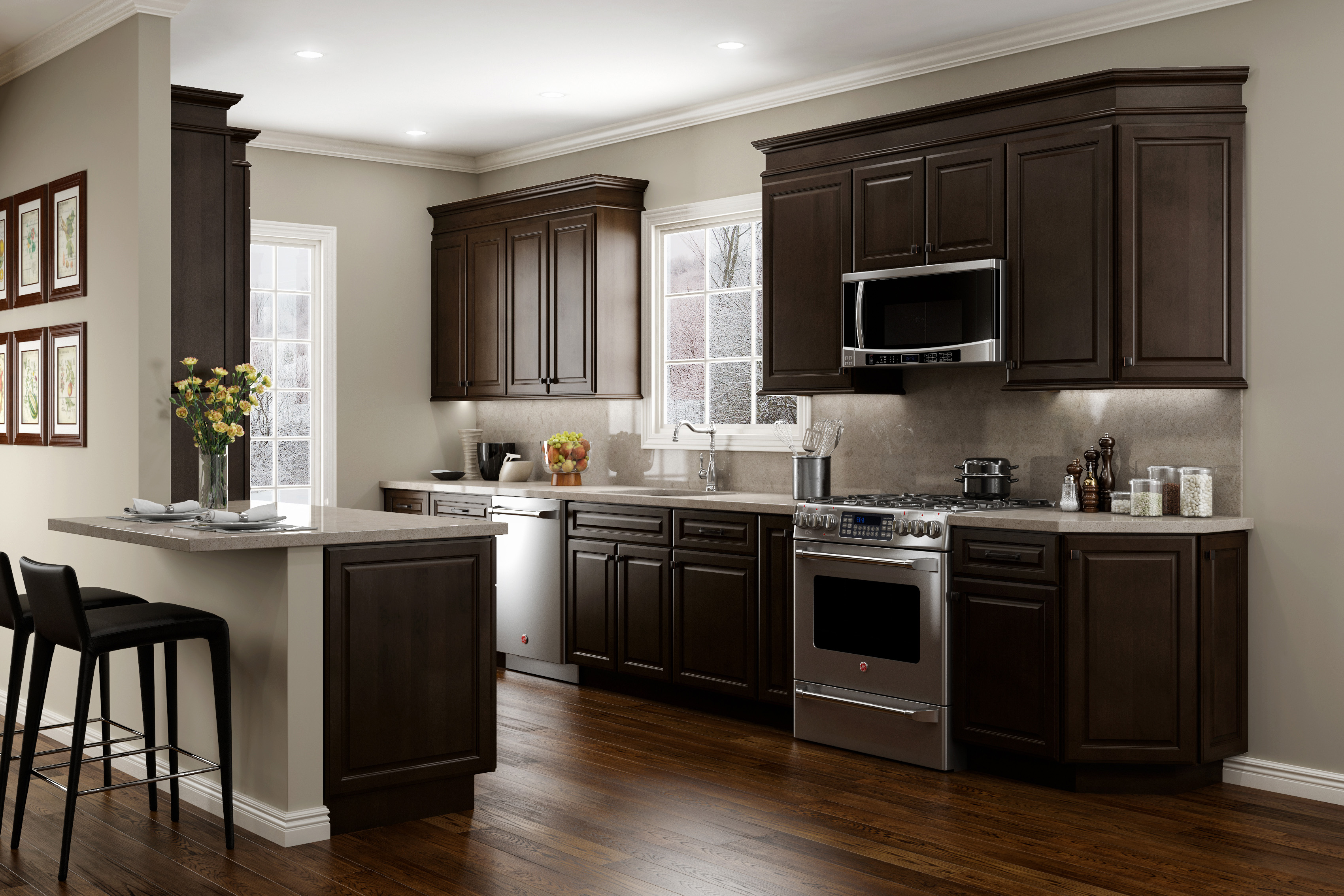 Espresso Kitchen Cabinets With White Countertops